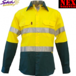 Hivis Two Tone Day & Night Cotton Drill Long Sleeve Work Shirt