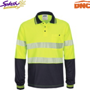 3513 - HIVIS Segment Taped Mircomesh Polo - Long Sleeve