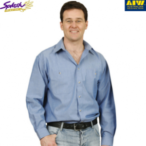 BS03L- Men's Wrinkle free Chambray Long Sleeve Shirt