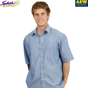 BS03S- Men's Wrinkle free Chambray Short Sleeve Shirt