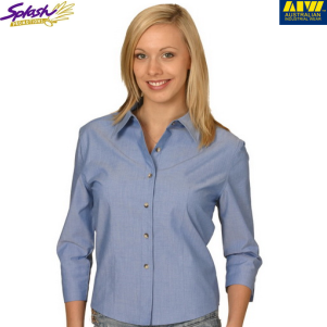 BS04- Ladies' Wrinkle free Chambray 3/4 Sleeve Shirt