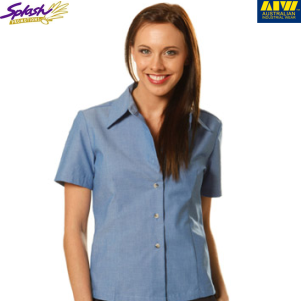 BS05- Ladies' Wrinkle free Chambray Short Sleeve Shirt