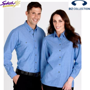 SH112 - Mens Wrinkle Free Chambray Long Sleeve Shirt