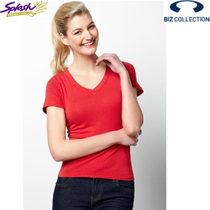 T968-Ladies V-Neck Stretch Short Sleeve T Shirt